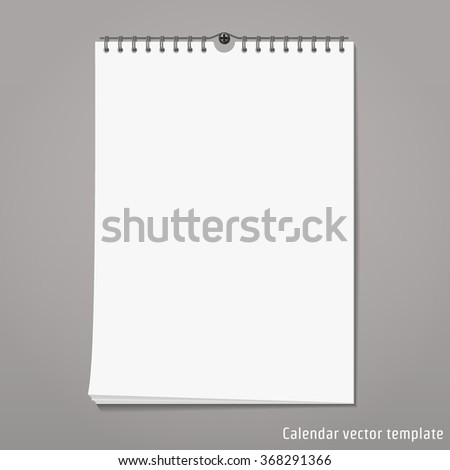 Illustration of Wall Calendar mock up for Brand Design. Object Template. Spring month blank isolated