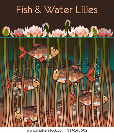 Illustration of water lilly and the fish - stock photo