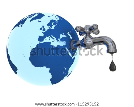 Illustration of water tap mounted on blue planet Earth dripping with oil isolated on white background. Elements of this image furnished by NASA