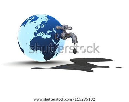 Illustration of water tap mounted on blue planet Earth dripping with oil isolated on white background. Elements of this image furnished by NASA - stock photo
