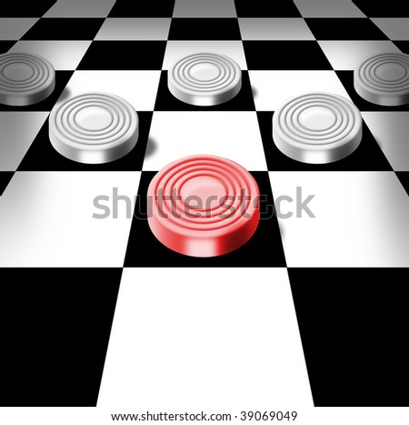 Illustration of white checkers and one red on a chess-board in a prospect