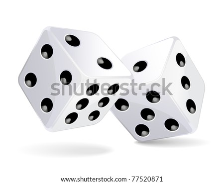 Illustration of white dices - stock photo