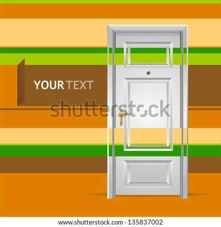 Illustration of White door in the wall for text