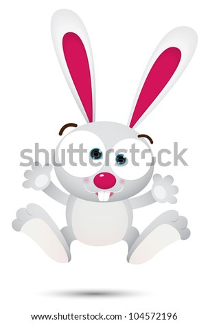 Illustration of White Rabbit Jumping - stock photo