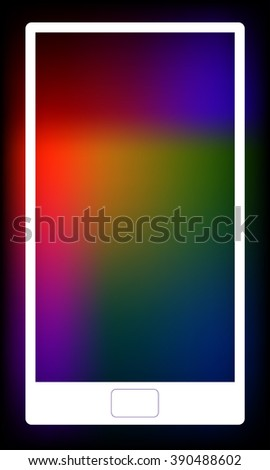 Illustration of white smartphone. Blurred colorful background with copy space