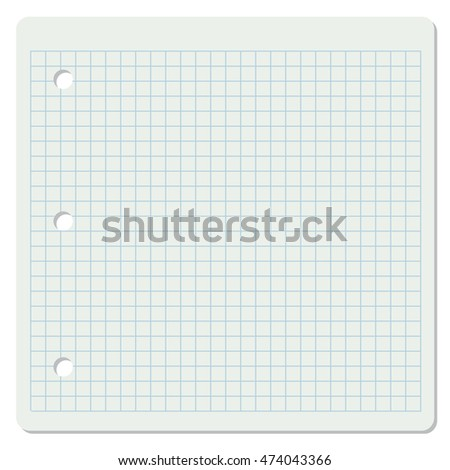 Illustration of white squared school paper sheet.