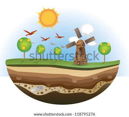 Illustration of wind mill and tree on the island, soil section. - stock photo