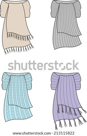 Illustration of winter knitted scarfs. Raster version - stock photo