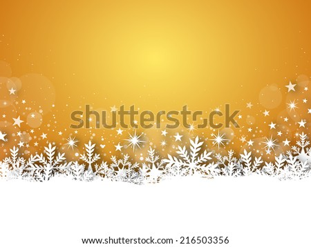 Illustration of winter yellow christmas background with stars. - stock photo