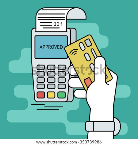 Illustration of wireless mobile payment by credit card. Human line contour hand holds a credit card and taps it to the payment terminal - stock photo
