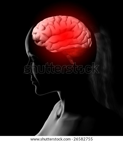 illustration of woman and brain isolated on black background