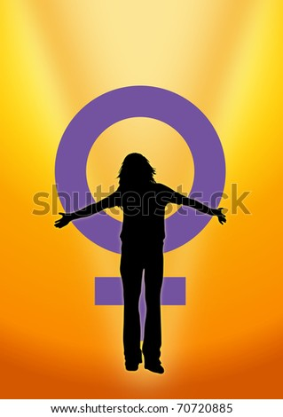 Illustration of woman and venus symbol to represent International Woman's Day - stock photo