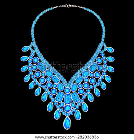illustration of woman's necklace with precious stones - stock photo