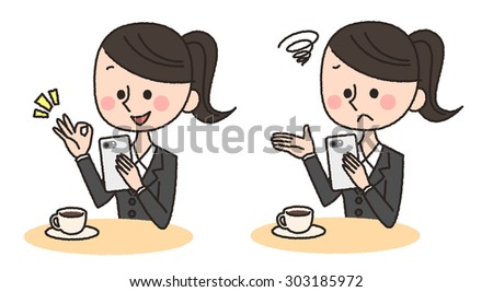 illustration of woman using smart phone - stock photo