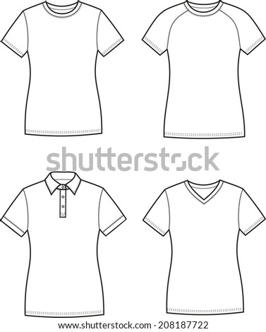 Illustration of women's t-shirts. Raster version