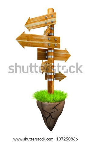illustration of wooden direction arrow board on piece of land - stock photo