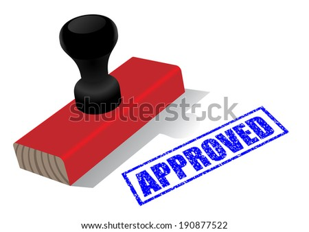 Illustration of wooden rubber stamp with �¢??approved�¢?�  impress isolated on white background - stock photo