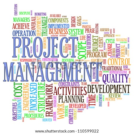 Illustration of word tage of project management