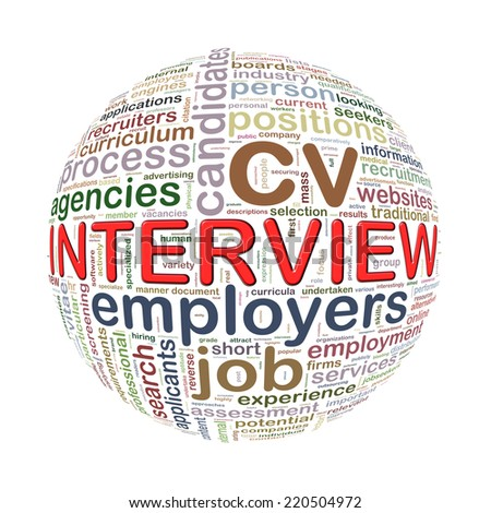 Illustration of word tags wordcloud ball sphere of interview - stock photo