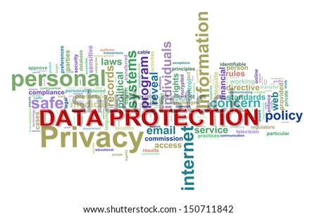 Illustration of word tags wordcloud of concept of data protection - stock photo