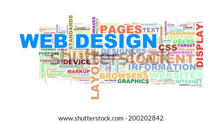 Illustration of wordcloud of web design word tags