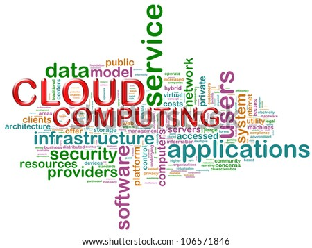 "Illustration of wordcloud related to concept ""cloud computing"" - stock photo"