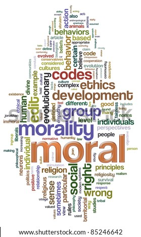 Illustration of Wordcloud related to word 'moral' - stock photo