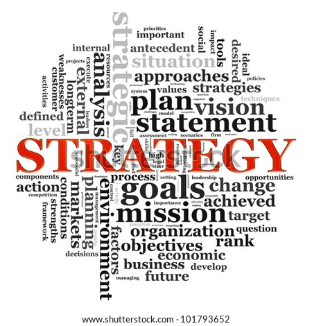 Illustration of wordcloud related to word strategy - stock photo