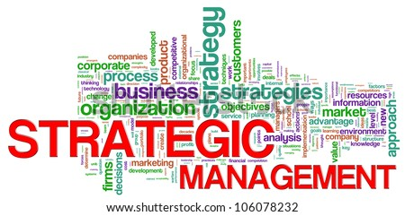 Illustration of Wordcloud representing strategic management concept - stock photo