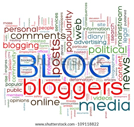 Illustration of wordcloud representing words related to blog - stock photo