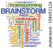 Illustration of wordcloud representing words related to brainstorming. - stock photo