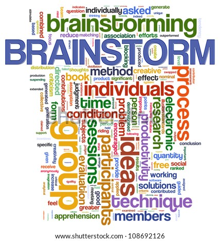 Illustration of wordcloud representing words related to brainstorming.