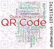 Illustration of wordcloud representing words related to qr code -  two-dimensional matrix barcode - stock photo