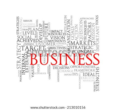 Illustration of wordcloud word tags of concept of business - stock photo