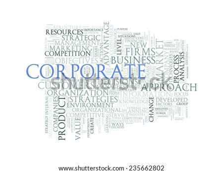 Illustration of wordcloud word tags of concept of corporate - stock photo