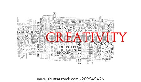 Illustration of wordcloud word tags of concept of creativity - stock photo