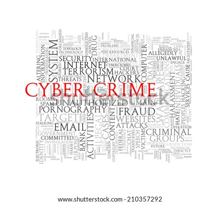 Illustration of wordcloud word tags of concept of cyber crime - stock photo