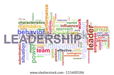 Illustration of wordcloud word tags of 'leadership. - stock photo