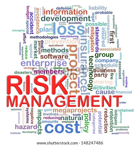 Illustration of Wordcloud word tags of risk management - stock photo