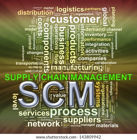 Illustration of wordcloud word tags of scm supply chain management - stock photo