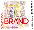 Illustration of words tags of brand wordcloud - stock photo