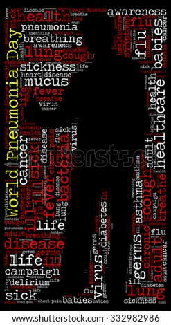 Illustration of World Pneumonia Day concept in modern word cloud.
