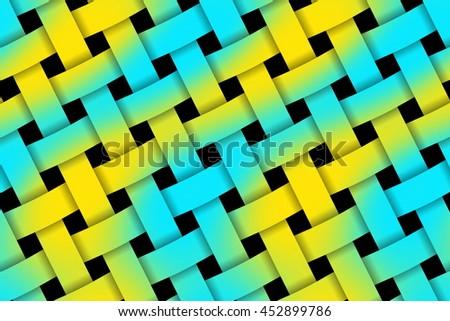 Illustration of yellow and cyan weaved pattern - stock photo