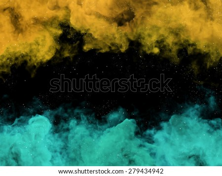 Illustration of yellow and green nebulas and stars in cosmos - stock photo