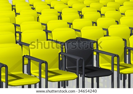 illustration of yellow and one black velvet chairs, classical, comfortable