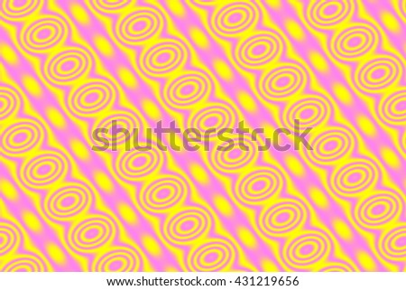 Illustration of yellow and pink circles in  diagonal line
