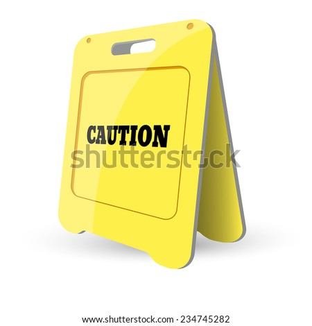 illustration of Yellow caution sign - stock photo