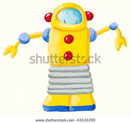 Illustration of Yellow robot