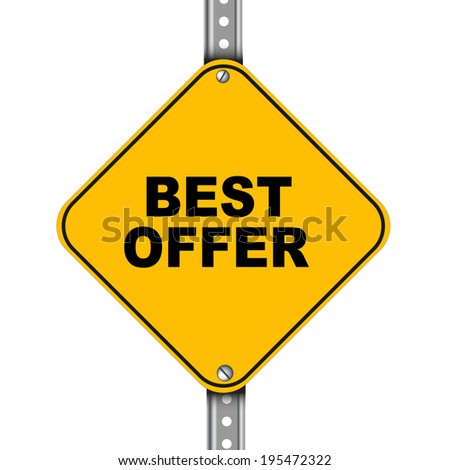 Illustration of yellow signpost road sign of best offer - stock photo