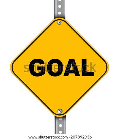 Illustration of yellow signpost road sign of goal